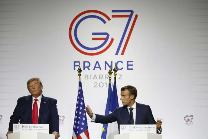 Emmanuel Macron et Donald Trump lors de leur conférence de presse commune au G7 à Biarritz, le 26 août.