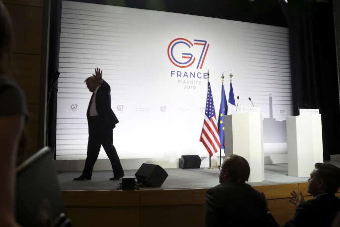 Donald Trump, à l'issue de sa conférence de presse commune avecEmmanuel Macron, lundi26août à Biarritz.