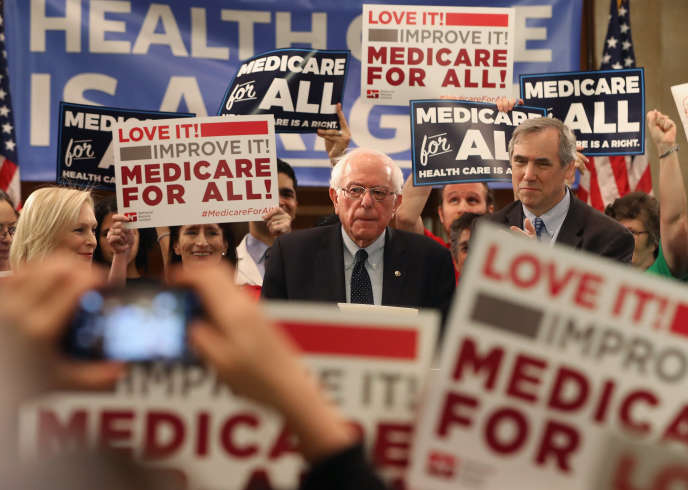 Le sénateur indépendant du Vermont, Bernie Sanders, lors de la relance de son projet de «Sécu pour tous», à Washington, le 9 avril.