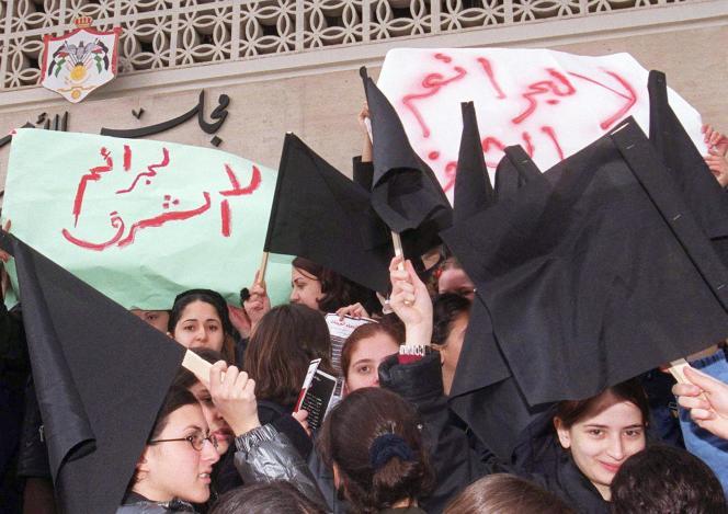 En 2000, à Amman, lors d'une manifestation contre une législation autorisant les crimes d'«honneur» contre les femmes.