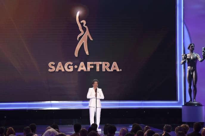 Gabrielle Carteris, présidente du syndicat des acteurs SAG-Aftra, lors de la 25e cérémonie des SAG Awards, à Los Angeles, le 27 janvier.