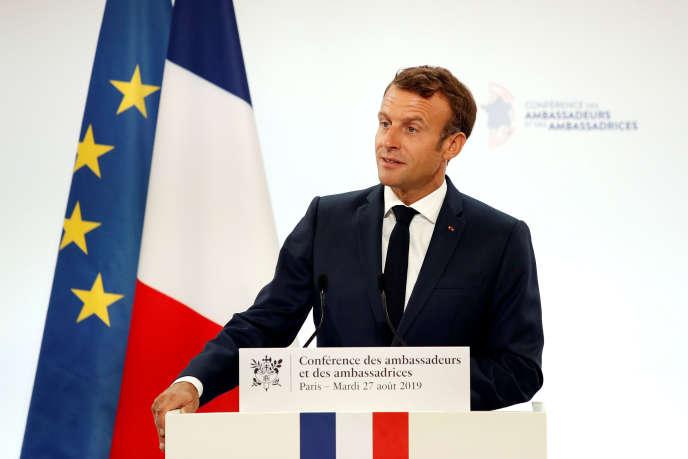 Le président français, Emmanuel Macron, le 27 août lors de la conférence des ambassadeurs à Paris.