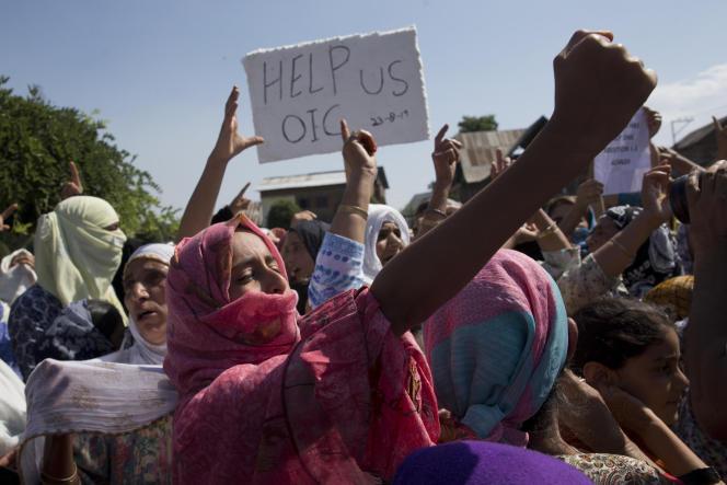 Manifestation à Srinagar, le 23 août 2019, contre la décision de New Delhi de révoquer l'autonomie du Cachemire.