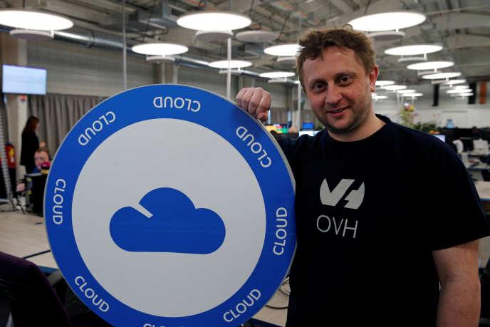 Octave Klaba, fondateur et patron d'OVH, dans un data center de son entreprise, à Roubaix, le 5 avril 2018.