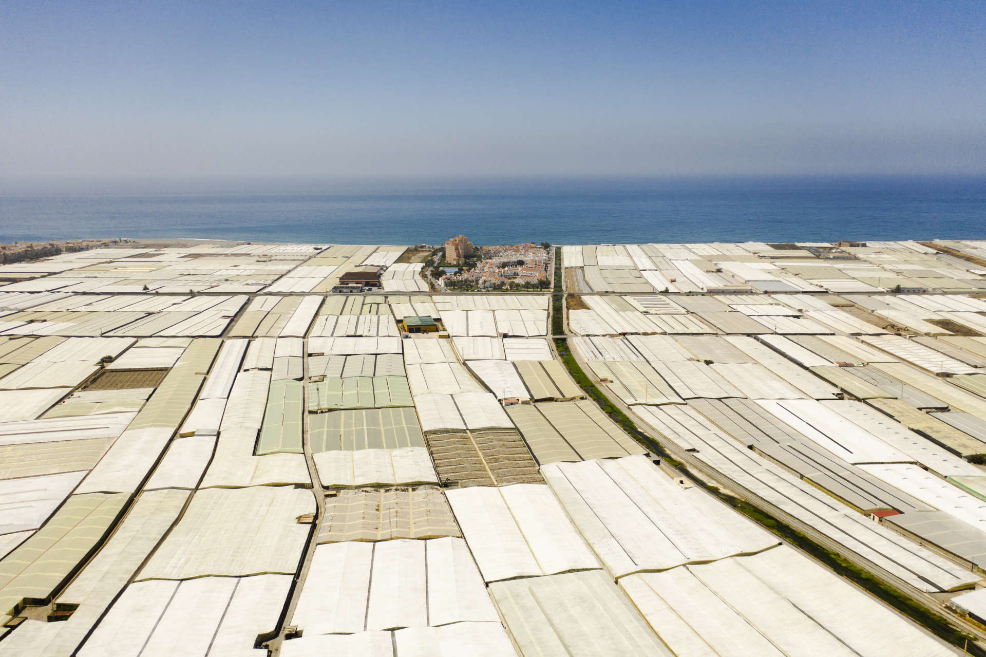 Calahonda (Espagne), le 21 juin. Le village est encerclé par des centaines de serres consacrées notamment à la culture de tomates.