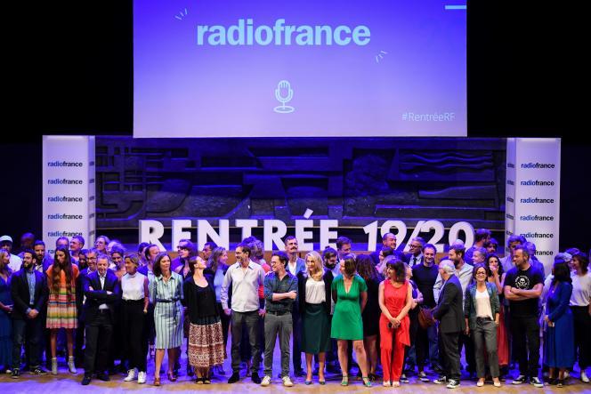 Les animateurs de Radio France lors de la présentation des programmes de la rentrée 2019, le 27 août.