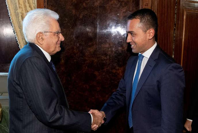 Luigi Di Maio (à droite), le chef du Mouvement 5 étoiles, avec Sergio Mattarella, le président de la République italienne, à Rome, Italie, le 28 août 2019.