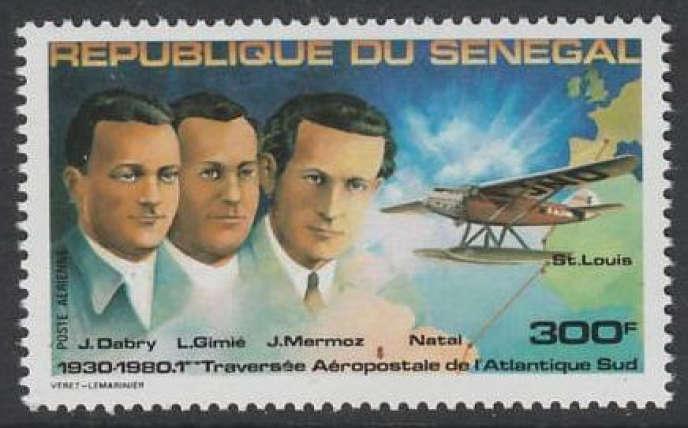 Mermoz, Dabry, Gimié, sur un timbre du Sénégal.