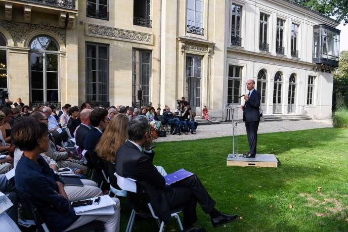 Jean-Michel Blanquer lors de sa conférence de presse de rentrée, au ministère de l'éducation nationale à Paris, mardi 27 août.