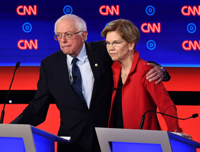 Bernie Sanders et Elizabeth Warren lors du débat télévisé le 30 juillet sur CNN.