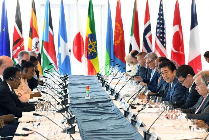Réunion de travail àYokohama, au Japon, le 29 août 2019, lors de laTokyo International Conference on African Development (Ticad).