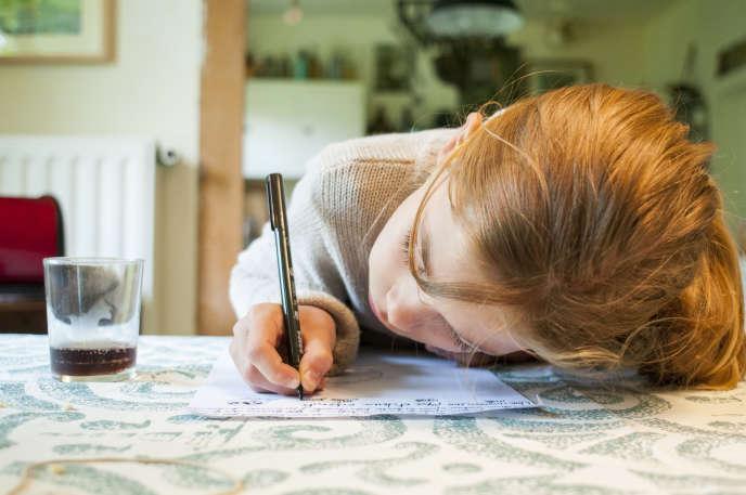 Une enfant fait ses devoirs, en Bourgogne, en 2015.