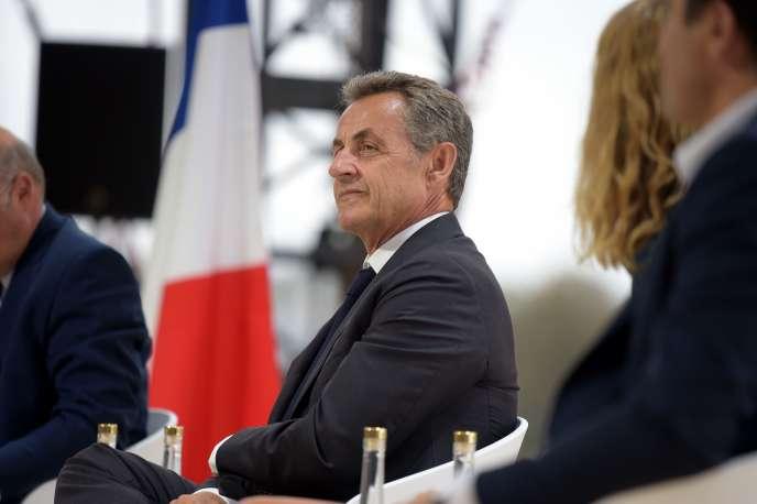L'ex-président français Nicolas Sarkozy à la rencontre des entrepreneurs de France, le 29 août à l'hippodrome de Longchamp à Paris.