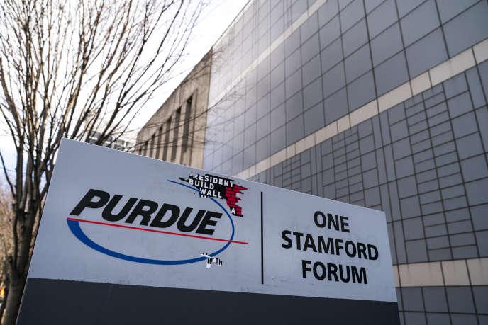 Le siège de Purdue Pharma, à Stamford, dans le Connecticut (nord-est des Etats-Unis), en avril.