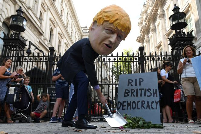 Lors d'une manifestation contre la prorogation du Parlement, le 28 août à Londres.