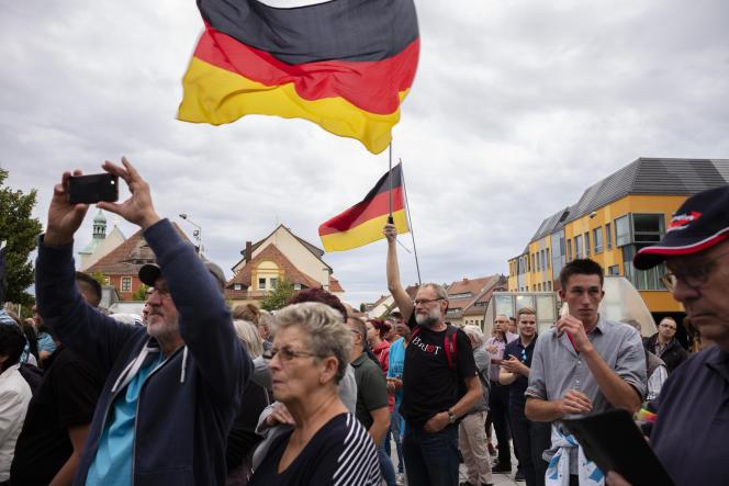 A Bautzen, en Saxe, le 15 août, lors d'un rassemblement du parti d'extrême droite Alternative pour l'Allemagne (AfD).