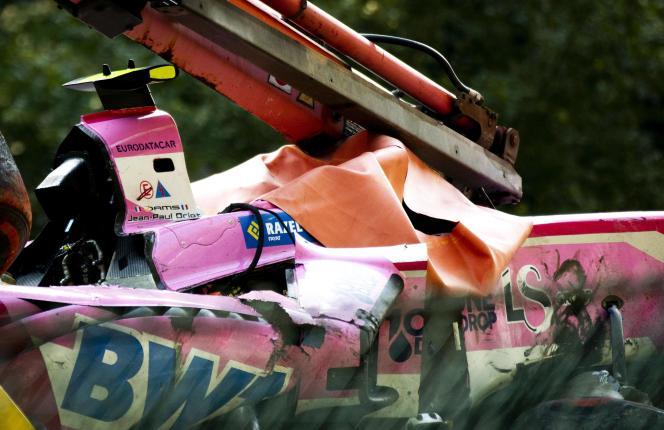 La monoplace d'Anthoine Hubert après l'accident qui lui a coûté la vie lors de la course de F2 deSpa, en Belgique, le 31 août.