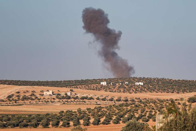 Une frappe dans la province d'Idlib, le 23 août.