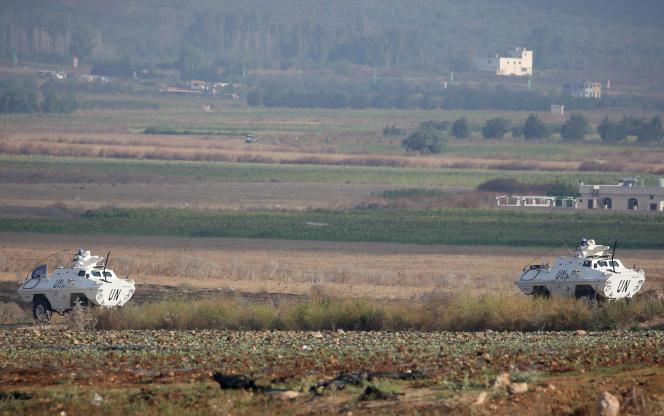 Des patrouilles de la FINUL (ONU), dans le sud du Liban, près de la frontière avec Israël, le 2 septembre.