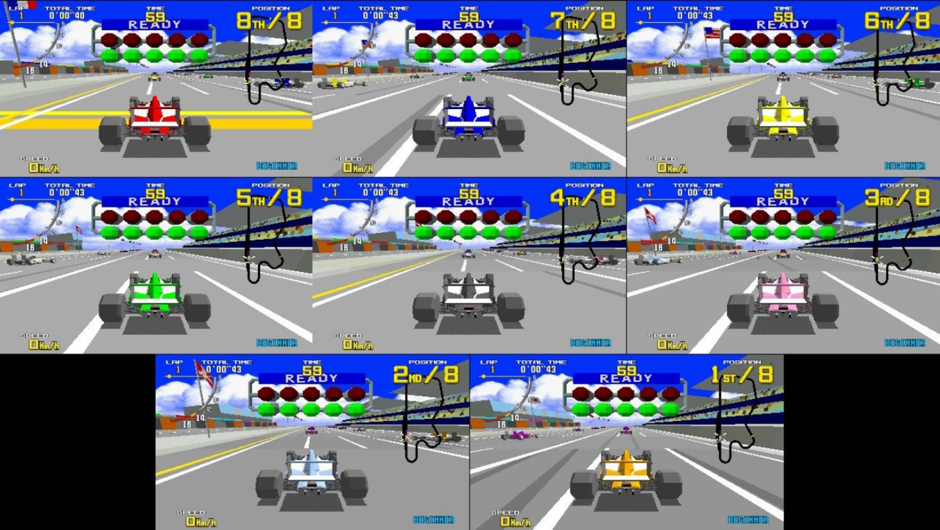 Fonctionnalité inédite inattendue, et particulièrement chaotique, un mode 8-joueurs fenêtré sur la réédition Switch de «Virtua Racing.»