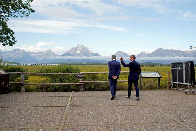 Le président de la Fed, Jerome Powell (à gauche), et le gouverneur de la Banque d'Angleterre, Mark Carney, au symposium de Jackson Hole, le 23 août.