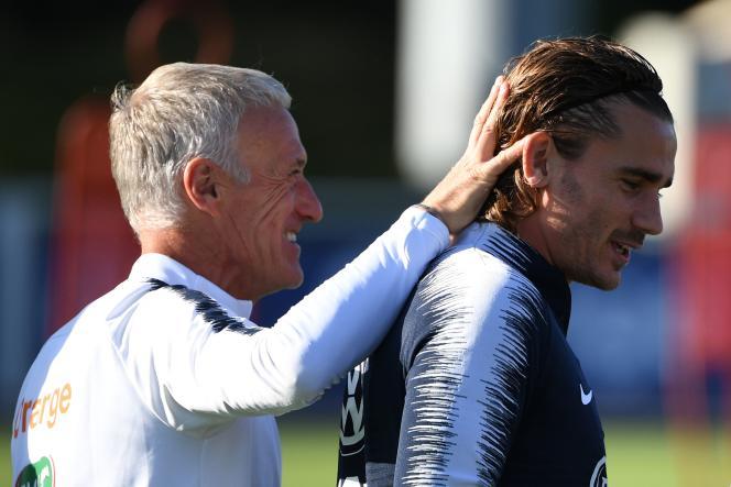 Didier Deschamps et Antoine Griezmann à Clairefontaine.