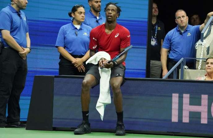 Gaël Monfils après sa défaite en quarts de finale de l'US Open, à New York, le 4 septembre.