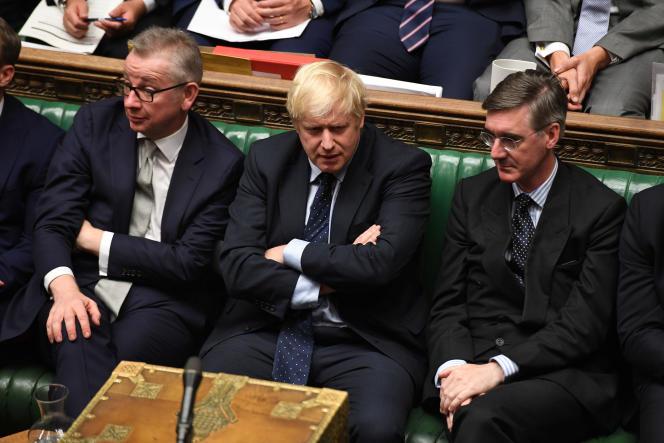 Le premier ministre britannique Boris Johnson, au centre, le 3 septembre à la Chambre des communes, à Londres.
