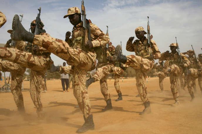 Des soldats tchadiens s'entraînent lors d'un exercice conjoint encadré par l'armée américaine à Diffa, au Niger, en mars 2014.