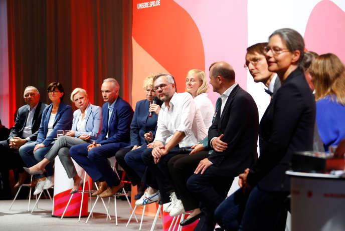 Lors du débat entre les différents candidats à la présidence du SPD, le 4 septembre 2019 à Sarrebruck (Allemagne).