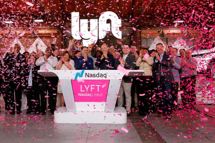 L'introduction de Lyft au Nasdaq, célébrée par les équipes de la plate-forme, à Los Angeles, le 29 mars.