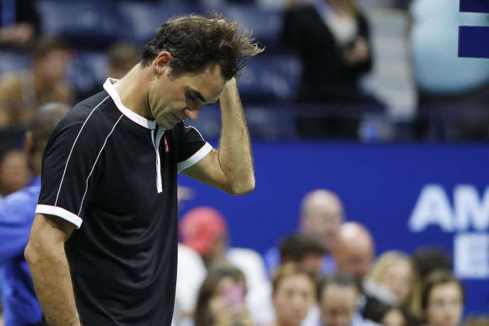 Roger Federer après sa défaite face à Grigor Dimitrov en quart de finale de l'US Open à New York, le 3 septembre.