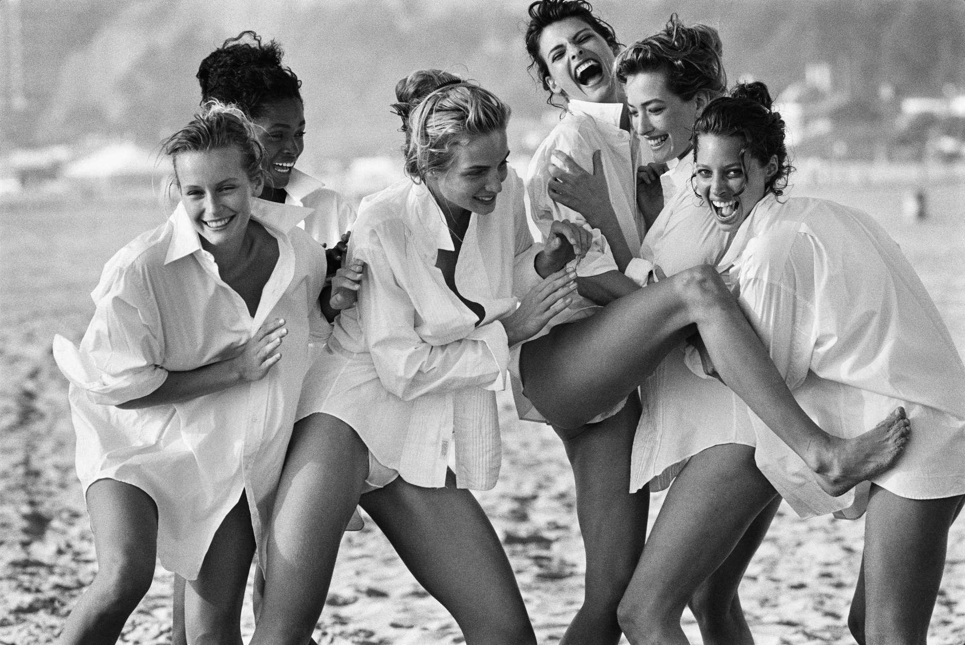 Estelle Lefébure, Karen Alexander, Rachel Williams, Linda Evangelista, Tatjana Patitz & Christy Turlington, Santa Monica, 1988
