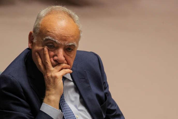 Ghassan Salamé, l'émissaire de l'ONU pour la Libye, au Conseil de sécurité, à New York, le 21 mai 2019.