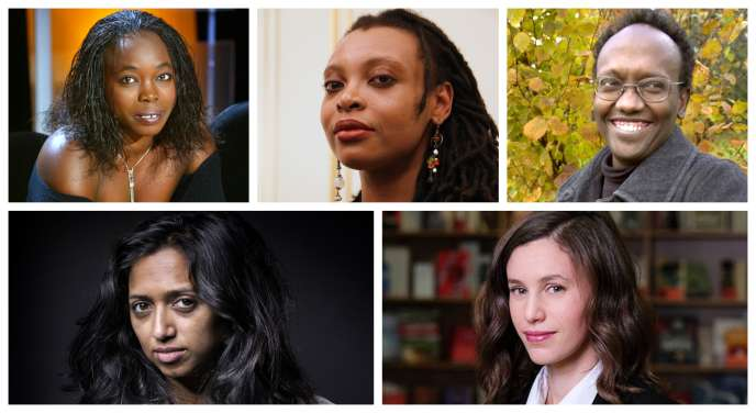 De gauche à droite et de haut en bas: Fatou Diome, Léonora Miano, Abdourahman Waberi, Nathacha Appanah et Kaouther Adimi.
