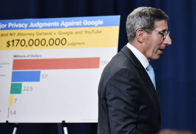 Lors de l'annonce, à Washington, mercredi 4 septembre, de l'amende de 170 millions de dollars infligée à YouTube, la filiale de Google, pour avoir exposé les enfants à des vidéos inappropriées et collecté des données personnelles les concernant.
