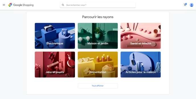 Page d'accueil du service d'ecommerce« Acheter sur Google».
