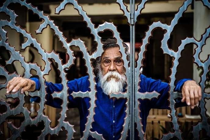 Francisco Toledo, enmai2017, dans uncafé d'Oaxaca, au Mexique.