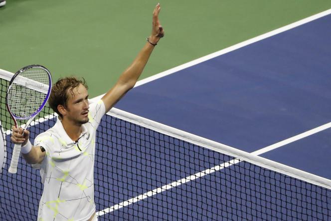 Daniil Medvedev après sa victoire contre Grigor Dimitrov, en demi-finales de l'US Open, le 6 septembre.