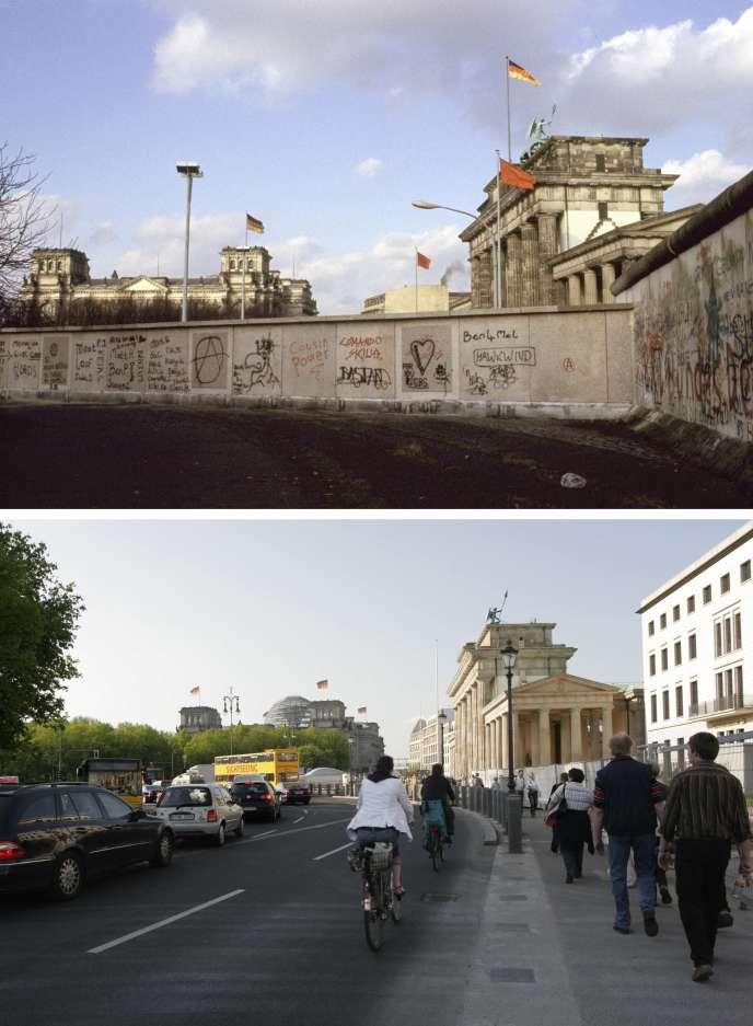 Le Mur de Berlin, en 1984 (en haut), et la même vue en 2008.