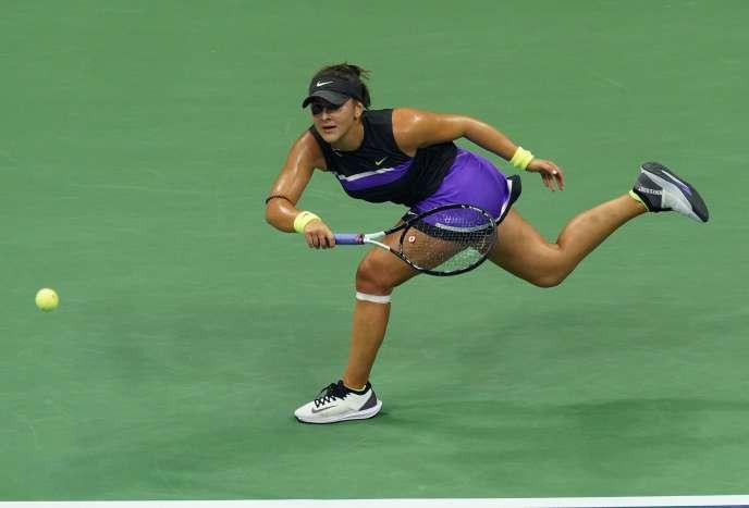 Bianca Andreescu, lors de sa demi-finale à l'US Open contre la Suissesse Belinda Bencic, le 5 septembre.