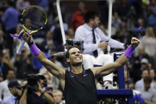 Rafael Nadal après sa victoire contre Matteo Berrettini, en demi-finale de l'US Open, le6septembre.