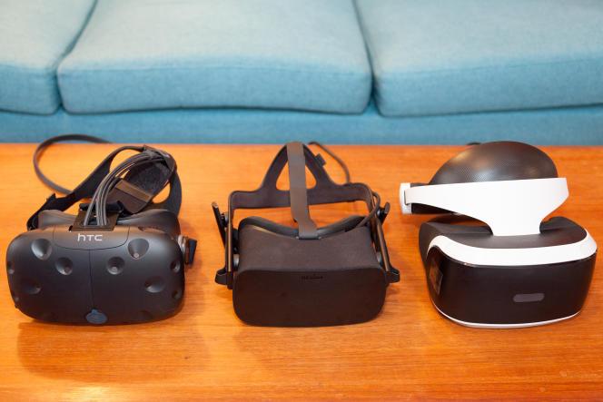 De gauche à droite : casques HTC Vive, Oculus Rift et PlayStation VR