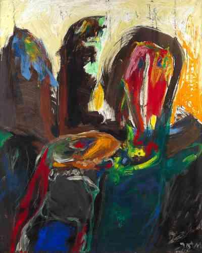 «L'art d'Asger Jorn est essentiellement spontané, dynamique et coloré. Datant de 1967, cette œuvre témoigne de la nouvelle liberté que le mouvement CoBrA a apporté à l'artiste, le poussant vers l'abstraction, souvent violemment expressive.»