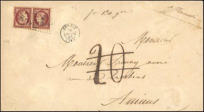 Compter 120 000 euros minimum pour cette lettre de 1853, à destination d'Amiens.