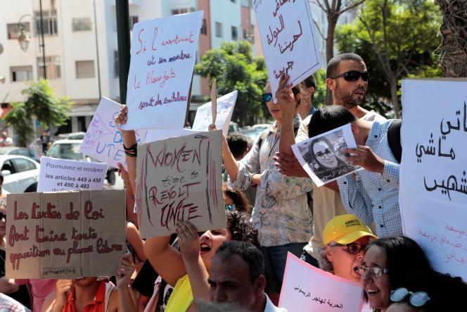 Manifestation de soutien à Hajar Raissouni, poursuivipour «débauche» et «avortement clandestin», à Rabat (Maroc), le 9 septembre.