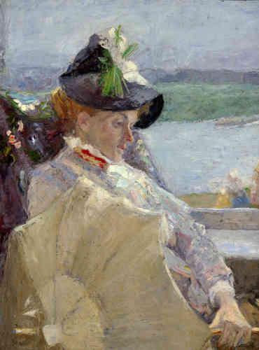 """«""""Dame à l'ombrelle"""" est une œuvre phare de l'impressionnisme belge. Elle fait état d'un jeu de composition subtil, présentant un juste équilibre entre un avant-plan dynamique dans les jeux de ligne, la nervosité des motifs et l'apaisement offert par l'arrière-plan.»"""