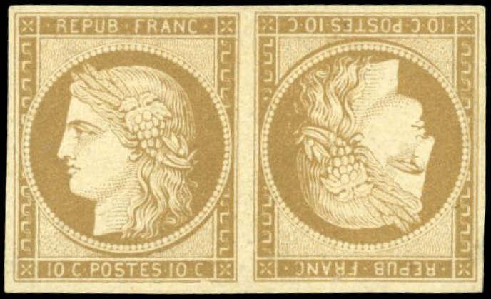 Prix de départ de 65 000 euros pour cette paire tête-bêche du 10 centimes bistre à l'effigie de Cérès.