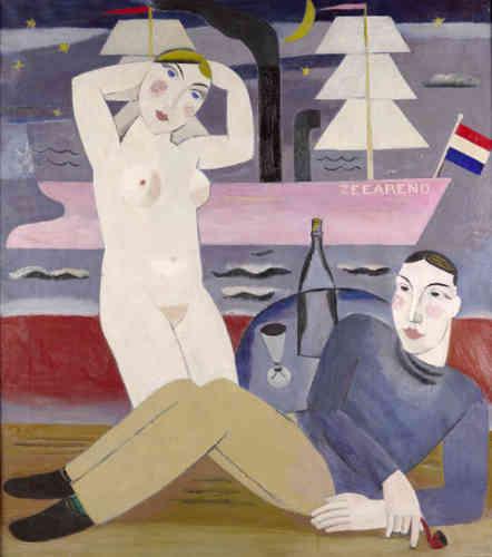 """«Avec """"De Zeearend"""", Gustave DeSmet fait état de sa maîtrise de la structure, de la sobriété des formes, mais aussi d'une certaine gaieté, par le choix des couleurs. L'œuvre se distingue par le sentiment de plénitude et de sérénité qui s'en dégage.»"""