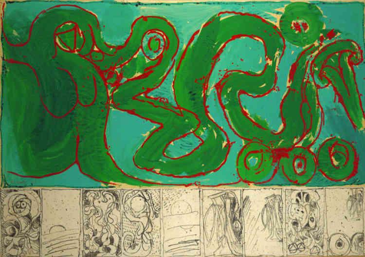 «Au sein du groupe CoBrA, Pierre Alechinsky prône un retour à la spontanéité dans l'art et à un état primitif de l'homme. Féru de calligraphie, le peintre exploite ce domaine sous la seule orientation esthétique. Au-delà de ce rapport à l'écriture, l'œuvre présente une richesse formelle incontestable: lignes, volutes et couleurs vives se déploient avec générosité.»